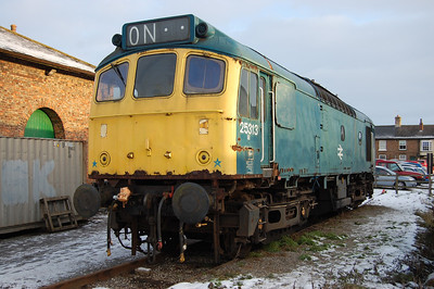 Former Llangollen resident 25313 is pictured in the yard at Leeming Bar. The Wensleydale Railway became the loco's new home towards the end of last year (02/01/2010)
