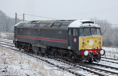 What is it with Wensleydale this year This is my second visit to the line in 2010, and I've been greeted with a blizzard on both occasions 47715 'Poseidon' backs onto the stock at Redmire before working the 1105 back to Leeming Bar 21/02/2010