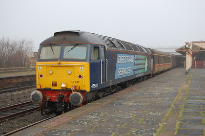 47501 'Craftsman' is pictured on arrival at a foggy Workington with 2Z29 1250 from Maryport. With funding for the Cumbrian shuttles apparently having been secured until at least May, this was an early opportunity to sample a '47'-hauled service train in the new decade (18/01/2010)