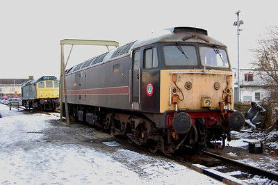 Today's event had originally been intended to be a '47' running day, also involving 47703. However the HNRC-owned machine has recently suffered a seized traction motor and is currently out of traffic, but had been put on view in the yard (02/01/2010)
