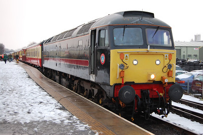 47798 had been due to attend the railway for the event, but was failed with a load-regulator fault before leaving the 'NRM' on Friday afternoon. Resident 47715 was therefore entrusted with all three return trips, and 'Poseidon' is pictured on arrival back