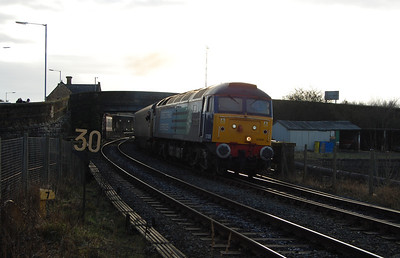 57008 accelerates away from Workington with 2T32 1445 to Maryport (18/01/2010)