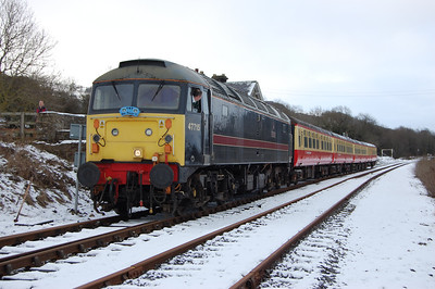 47715 'Poseidon' is pictured on arrival at Redmire with the 1205 ex-Leeming Bar (02/01/2010)