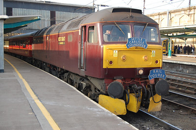 47760 is seen here waiting to depart Carlisle later that afternoon with the return 1Z38 1542 to Bridlington via the Tyne Valley and ECML (20/02/2010)