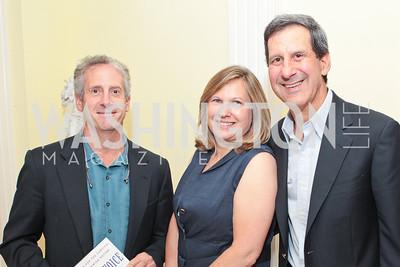 Chuck Fleischman, Resa Eppler, David Eppler. Jeremy Ben-Ami's book launch. Home of Esther Coopersmith. Photos by Alfredo Flores. July 27, 2011