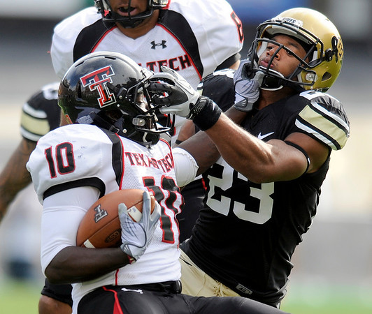University of Colorado cornerback Jalil Brown makes a tackle on Texas Tech running back Harrison Jeffers during the football game against Texas Tech on Saturday, Oct. 23, at Folsom Field.<br /> Jeremy Papasso/ Camera