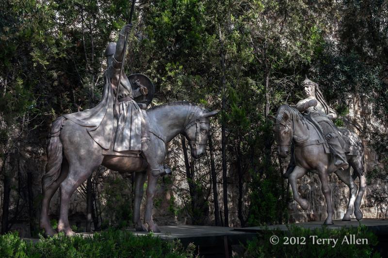 Play-of-light-and-shadows,-crusader-and-muslim-horsemen,-near-Jaffe-Gate ,-Jerusalem
