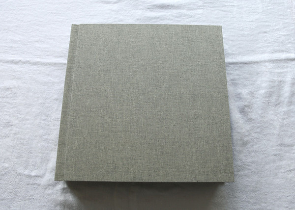 This is a Storm linen covered album which is a a dark grey and white mix (seen better in some of the other photos).  Inside the album the pages are white