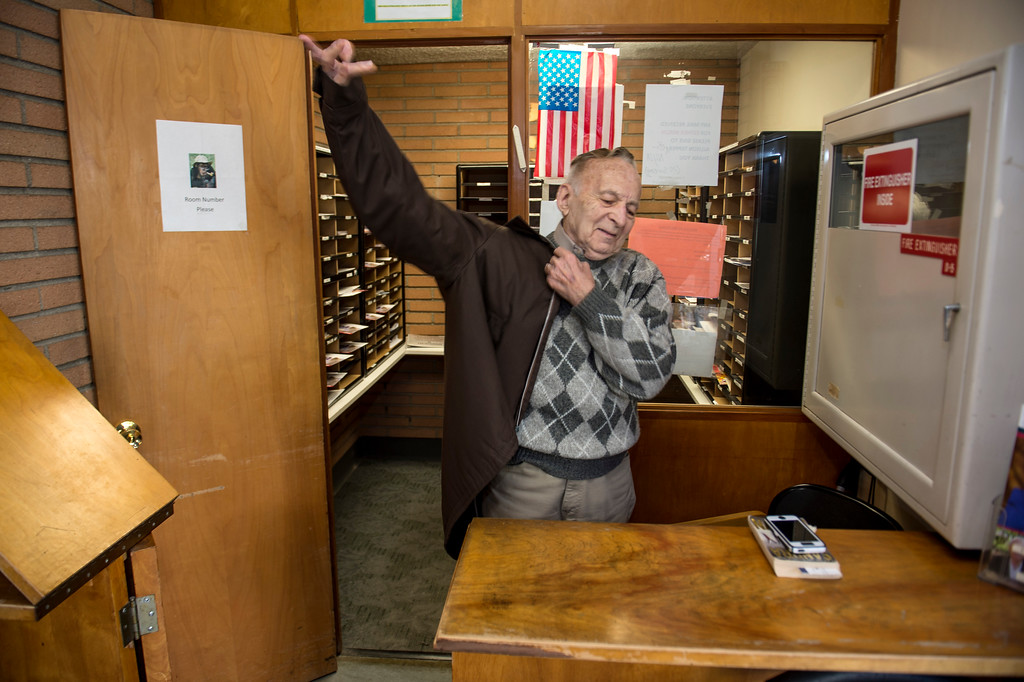 . Joseph Neustadt, 89, gets ready to leave as he ends his shift at the mail room at the Los Angeles Jewish Home for the Aging-Eisenberg Village in Reseda on Wednesday, January 25, 2017. Joseph Neustadt who was born and raised in Riga Latvia, Baltic states, was the lone survivor of the Holocaust from his immediate family. He says at the age of 14 he was placed in a concentration camp for 4 years, he lost his mother, father, two sisters and a brother during World War II. Photo by Ed Crisostomo, Los Angeles Daily News/SCNG)