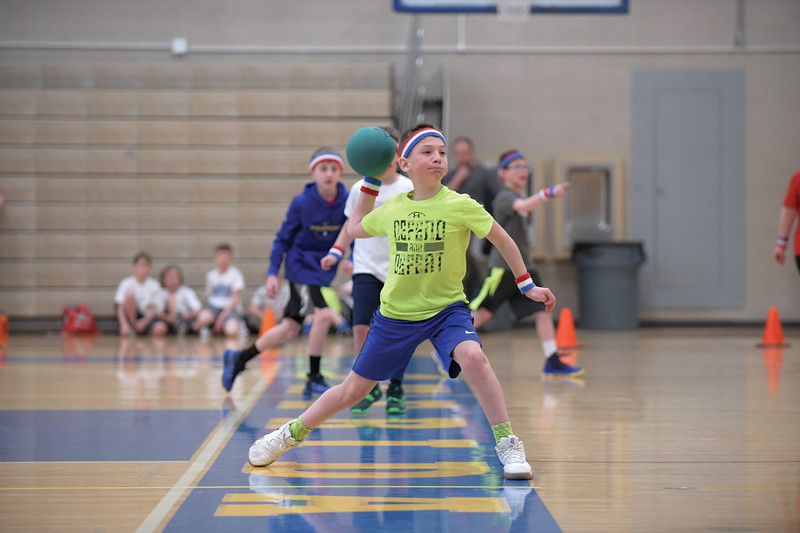 Matthew Gaston | The Sheridan Press<br>Prestige Worldwide's Braxton Crow on the attack during the KidsLife Dodgeball tournament at Sheridan High School Saturday, March 9, 2019.