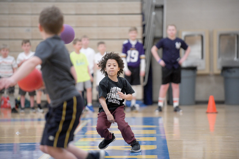 "Matthew Gaston | The Sheridan Press<br>D-Town's Malachi Simmons, 8, was ""too hot to handle"" at the KidsLife 2019 Dodgeball Tournament at Sheridan High School Saturday, March 9, 2019."