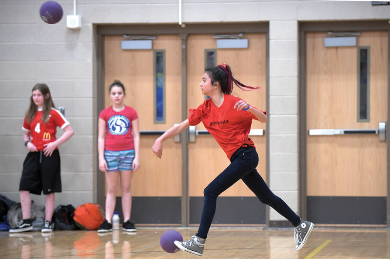 Matthew Gaston | The Sheridan Press<br>Almir Roque, 12, is the last girl standing for her team and refuses to go down without a fight at the KidsLife Dodgeball tournament Saturday, March 9, 2019.
