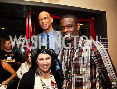 Deborah Morales, Kareem Abdul-Jabbar, Anthony Morrow. Photo by Tony Powell. Kareem Abdul-Jabbar Private Dinner. June 6, 2011