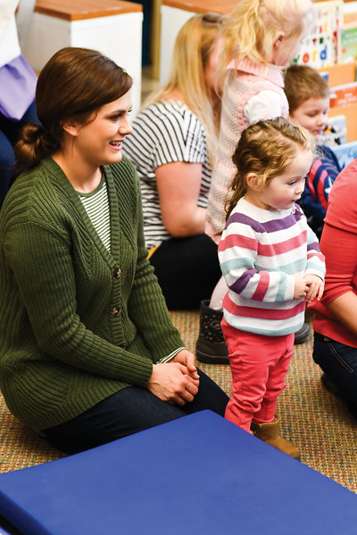 Matthew Gaston | The Sheridan Press<br>Twenty-month-old Bailey Schoonover sings along with other Kindlers while her mother Toni looks on Wednesday, Jan. 9, 2019.
