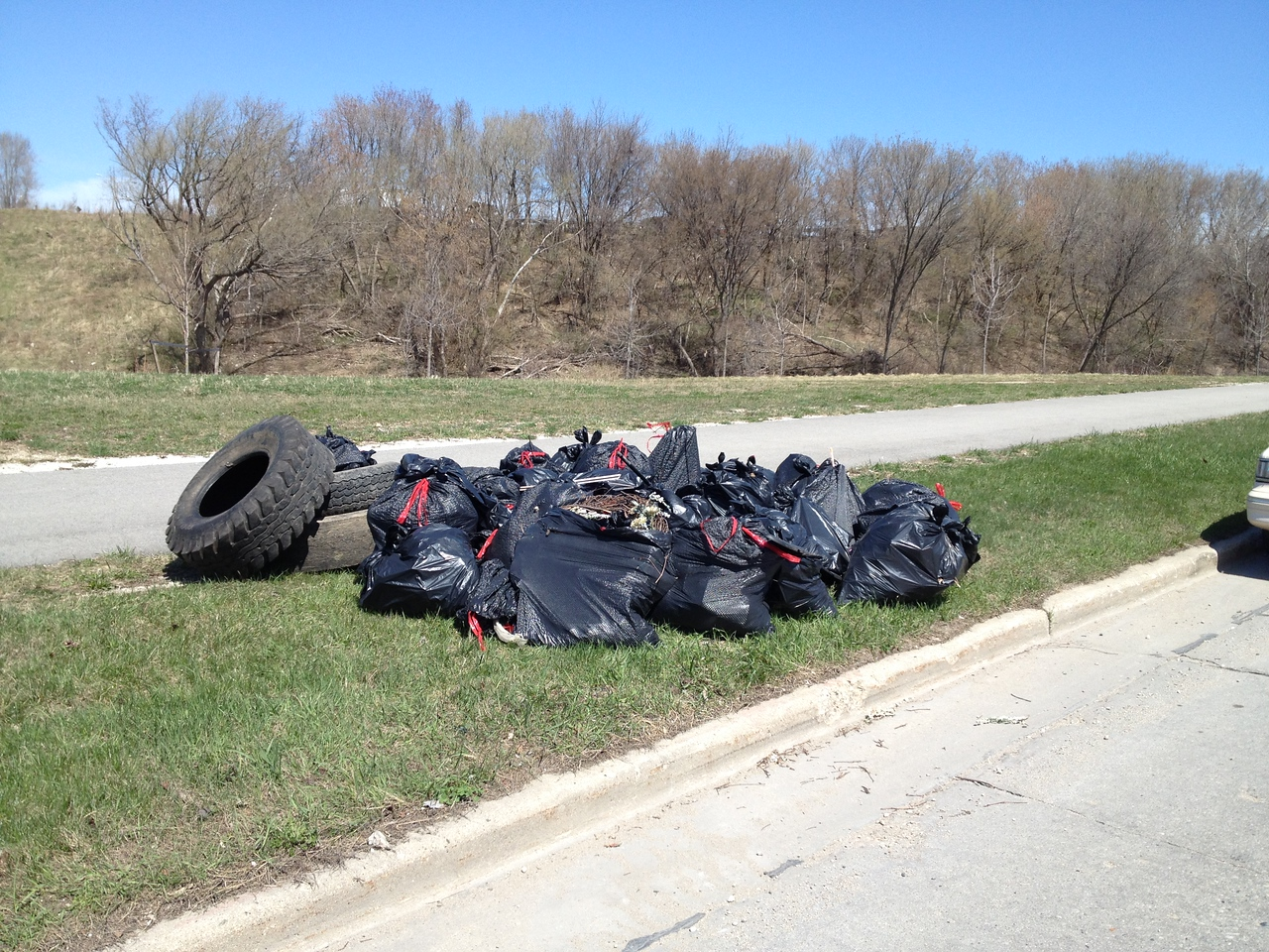 Just one of several piles of debris and trash that was removed from the Kinnickinnic River on Saturday, April 18th.