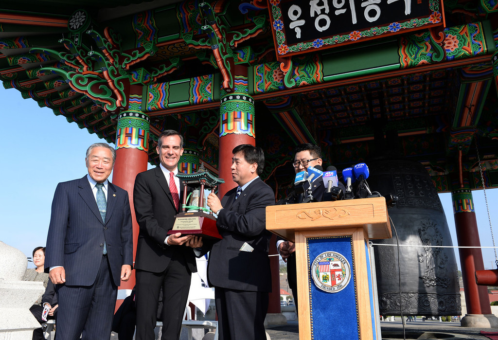. San Pedro Korean Friendship Bell ceremony to re-dedicate the recently restored bronze monument.  (Jan 10, 2014. Photo by Brad Graverson/The Daily Breeze)