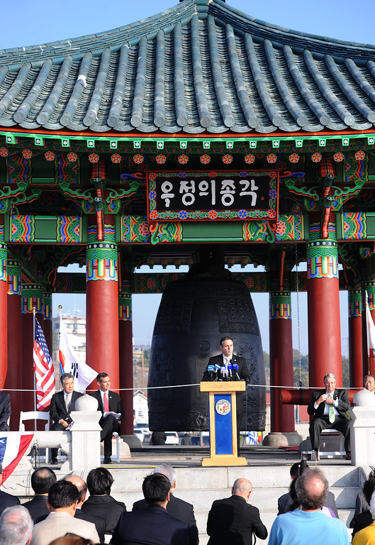 . San Pedro Korean Friendship Bell ceremony to re-dedicate the recently restored bronze monument. Remarks by Councilman Joe Buscaino.   (Jan 10, 2014. Photo by Brad Graverson/The Daily Breeze)
