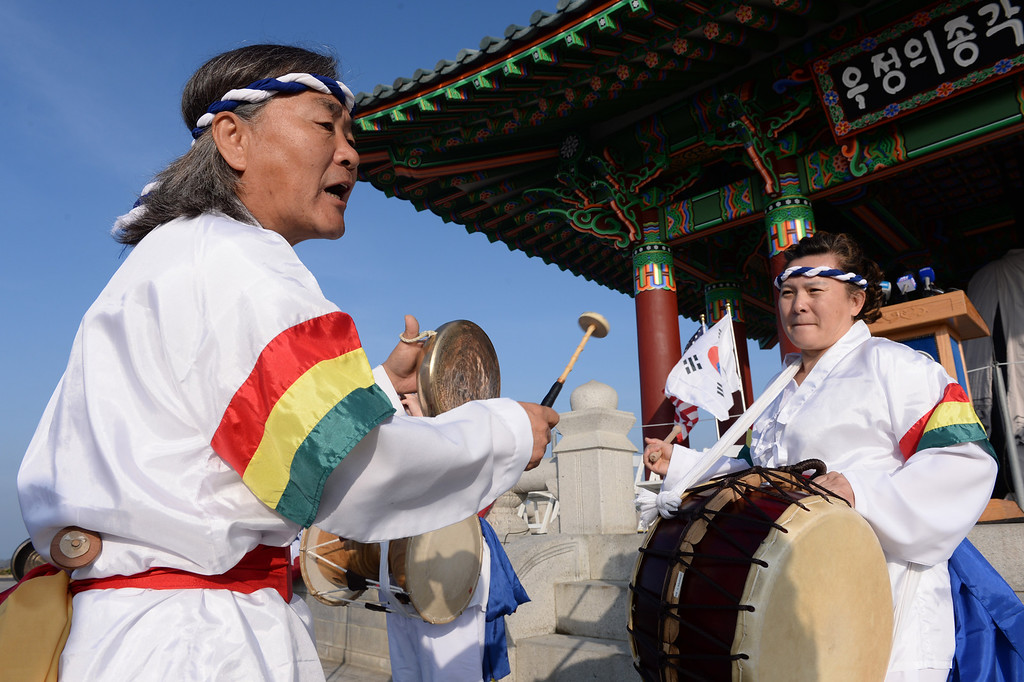 . San Pedro Korean Friendship Bell ceremony to re-dedicate the recently restored bronze monument. Traditional Korean Durapea drummers began the program.  (Jan 10, 2014. Photo by Brad Graverson/The Daily Breeze)