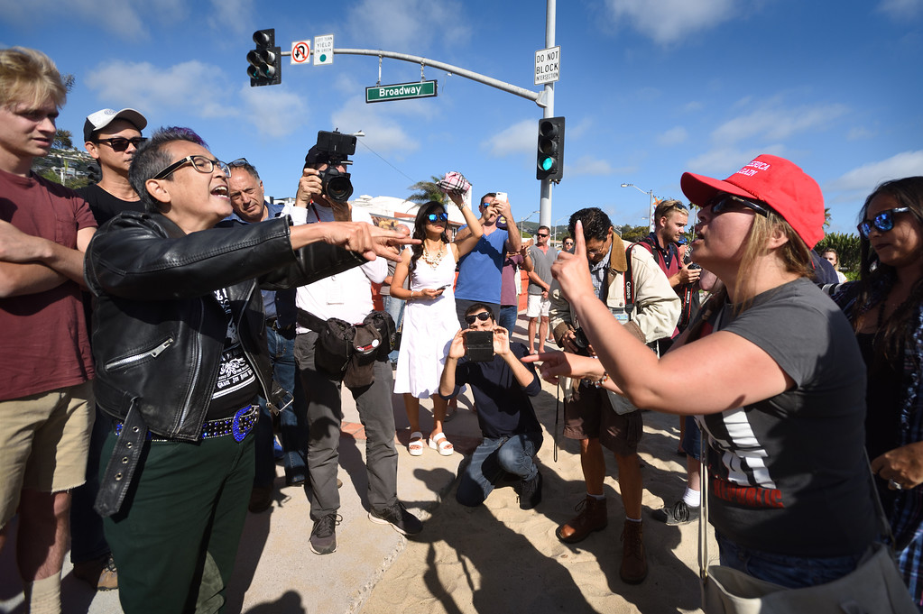. Protesters on both sides argue during an illegal immigration demonstration at Pacific Coast Highway near Broadway in Laguna Beach. Mindy Schauer, Orange County Register/SCNG