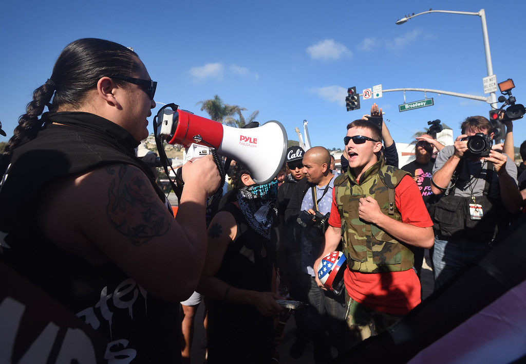 . Protesters clash during an illegal immigration demonstration in Laguna Beach. Mindy Schauer, Orange County Register/SCNG