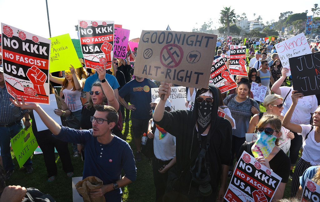 . Anti KKK protesters demonstrate during an illegal immigration rally at Laguna Beach. Kevin Sullivan, Orange County Register/SCNG