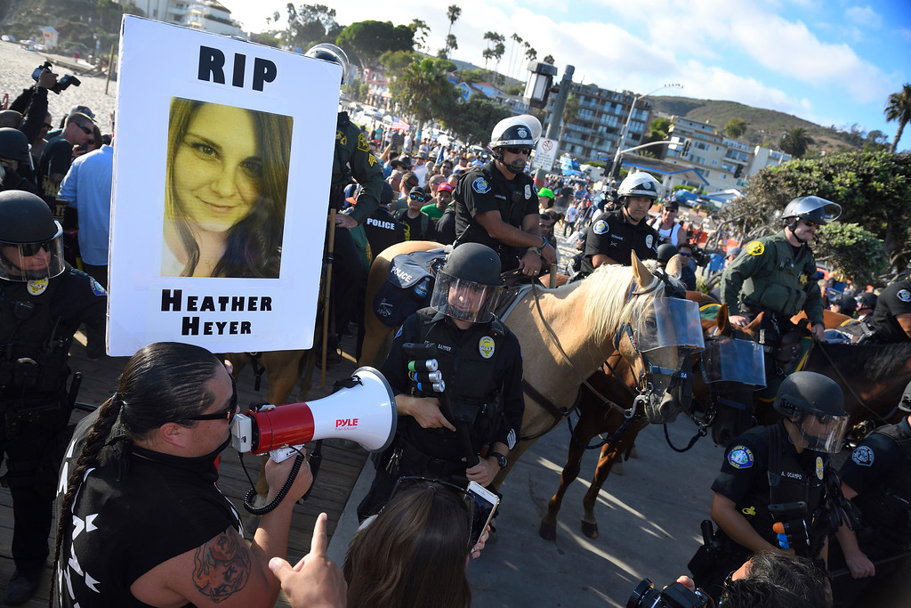 . Mounted unites from Orange County Sheriff Department and Santa Ana Police join other law enforcement trying to keep order during the rally in Laguna Beach. Kevin Sullivan, Orange County Register/SCNG