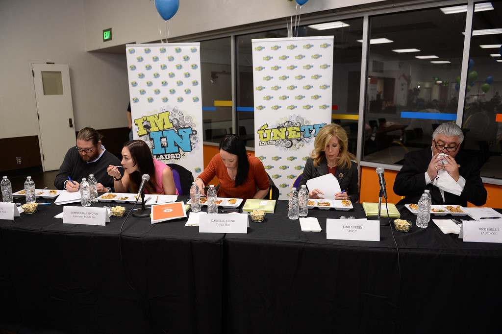 ". LAUSD ""Cooking Up Change\"" culinary competition for high school students held at LA TradeTechnical College.  Judging panel. (Thurs. Jan 30, 2014 Photo by Brad Graverson/The Daily Breeze)"