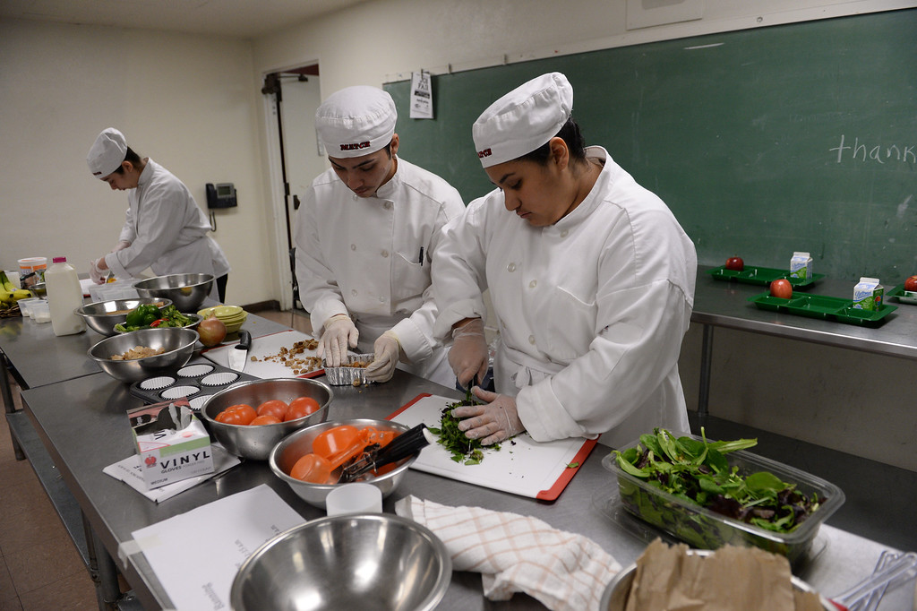 """. LAUSD \""""Cooking Up Change\"""" culinary competition for high school students held at LA TradeTechnical College.  Banning High School chefs . (Thurs. Jan 30, 2014 Photo by Brad Graverson/The Daily Breeze)"""