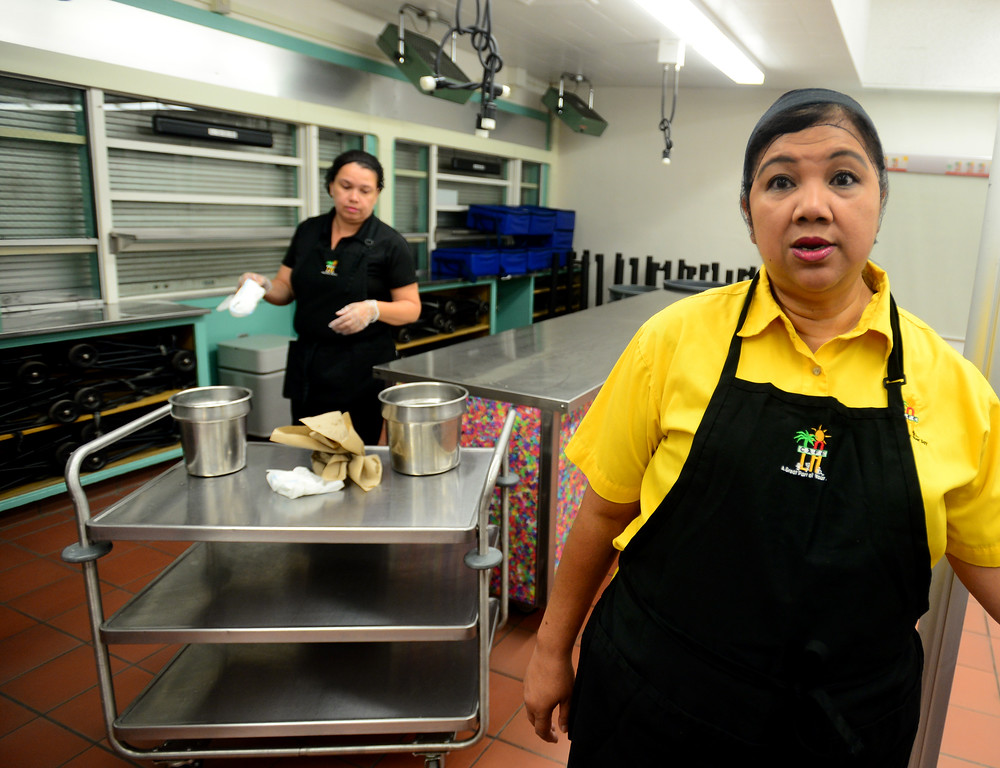 . The food services staff at Nobel is ready to feed  about 1,200 to 1,300 breakfast meals, 900 lunches and 600 suppers. Food Service manager, Judith Leano, right,  talks about preparations as Elizabeth Herrera cleans countertops on Friday, August 11, 2017.  LAUSD school food service workers at Nobel Middle School, in Northridge, CA., are preparing for the new school year that starts next Tuesday.  (Photo by Dean Musgrove, Los Angeles Daily News/SCNG)