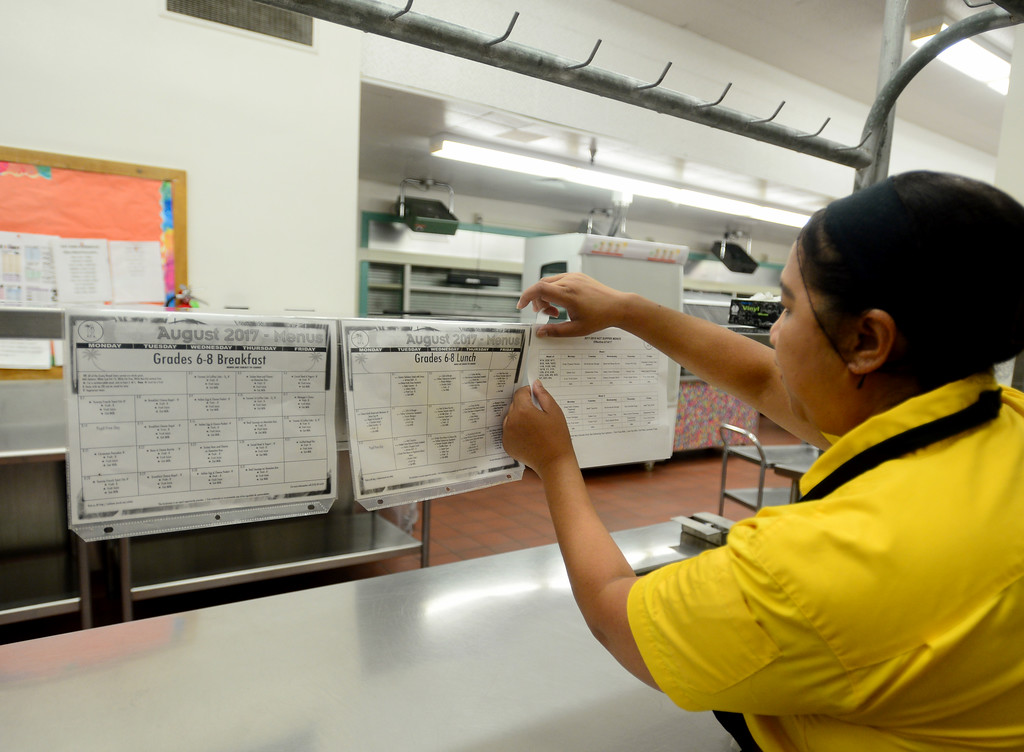 . Food Service Manager, Judith Leano, posts the meal calendars on Friday, August 11, 2017.  LAUSD school food service workers at Nobel Middle School, in Northridge, CA., are preparing for the new school year that starts next Tuesday.  (Photo by Dean Musgrove, Los Angeles Daily News/SCNG)