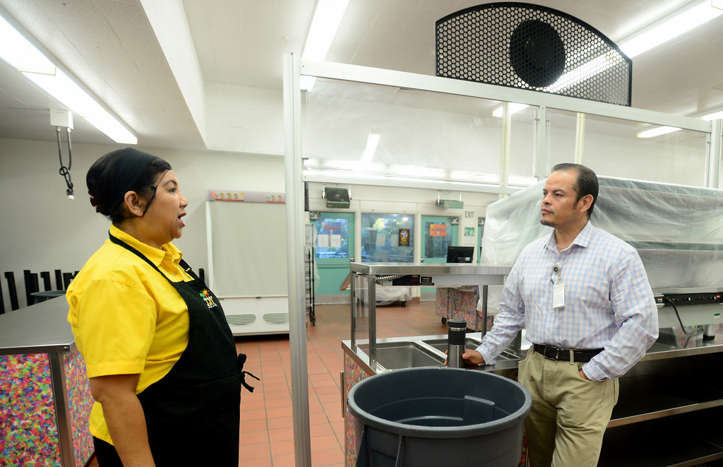 . Food Service Manager, Judith Leano and Area Food Service Supervisor, Javier Gutierrez talk about the new school year starting next week at Nobel Middle School on Friday, August 11, 2017.  LAUSD school food service workers at Nobel Middle School, in Northridge, CA., are preparing for the new school year that starts next Tuesday.  (Photo by Dean Musgrove, Los Angeles Daily News/SCNG)