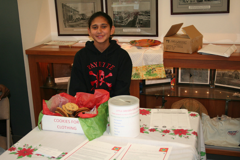Arts and Crafts fair--We did a fundraiser to raise money for supplies and postage expenses.  Belya from Egypt is selling cookies.