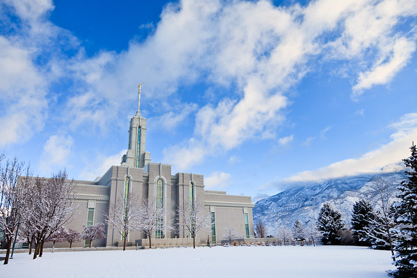 Mount Timpanogos Temple Snowy Morning