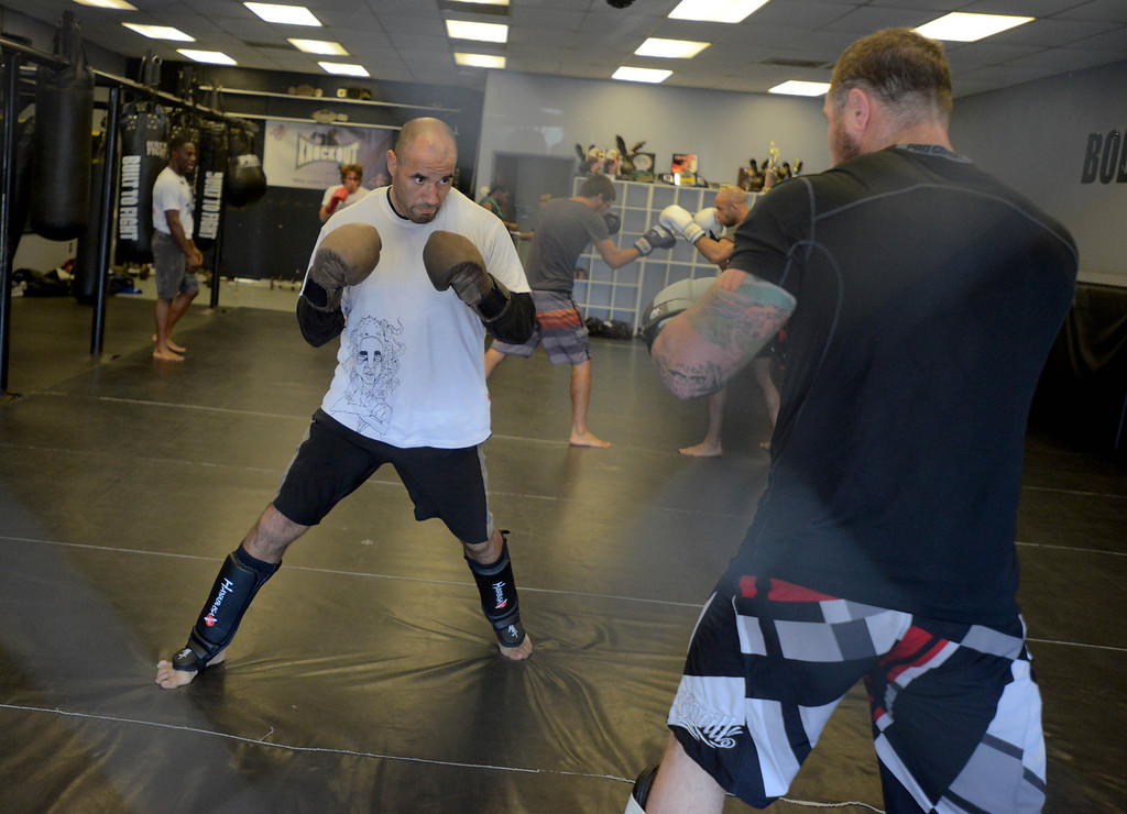 . Mondo Padilla,left, trains with Matt Bartlett at Antonio McKee\'s gym in Lakewood, CA on Thursday, September, 5, 2013. (Photo by Sean Hiller/ Press Telegram/ LANG)