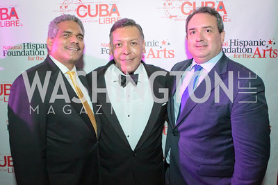 Gustavo Paredes, Felix Sanchez, Gustavo Arnavat.La Gran Desvelada. Noche de Gala after party. Cuba Libre. Photo by Alfredo Flores