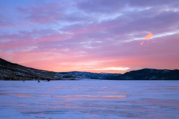 Ice fishing on Fish Lake