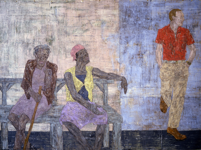 Leon Golub<br /> Two Black Women and a White Man, 1986<br /> acrylic on linen<br /> 120 x 163 inches
