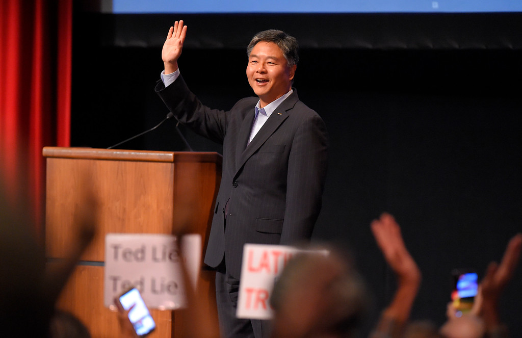 . Rep. Ted Lieu arrives at his town hall meeting at the Redondo Beach Performing Arts Center in Redondo Beach, CA on Monday, April 24, 2017. The venue was filled primarily with his supporters, but a few vocal conservatives did their best to try to disrupt the gathering. (Photo by Scott Varley, Daily Breeze/SCNG)