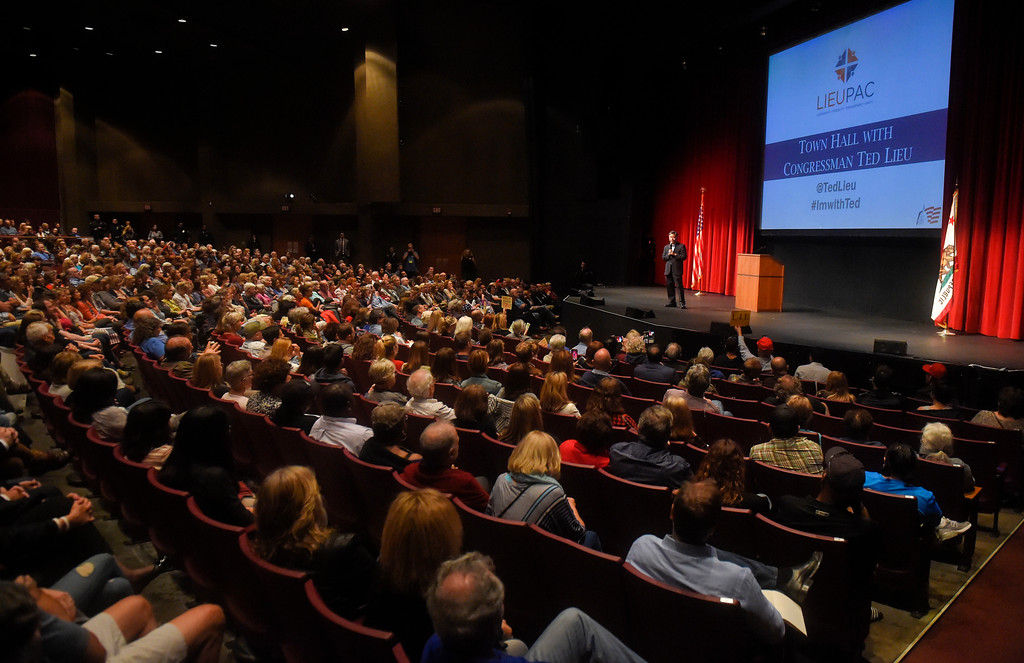 . Rep. Ted Lieu holds a town hall meeting at the Redondo Beach Performing Arts Center in Redondo Beach, CA on Monday, April 24, 2017. The venue was filled primarily with his supporters, but a few vocal conservatives did their best to try to disrupt the gathering. (Photo by Scott Varley, Daily Breeze/SCNG)