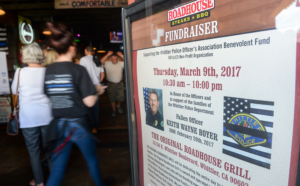 . Owners of the Original Roadhouse Grill are donating 100 percent of the restaurant\'s profits to the family of slain Whittier Police Officer Keith Boyer on Thursday March 9, 2017. (Photo by Keith Durflinger/Whittier Daily News/SCNG)