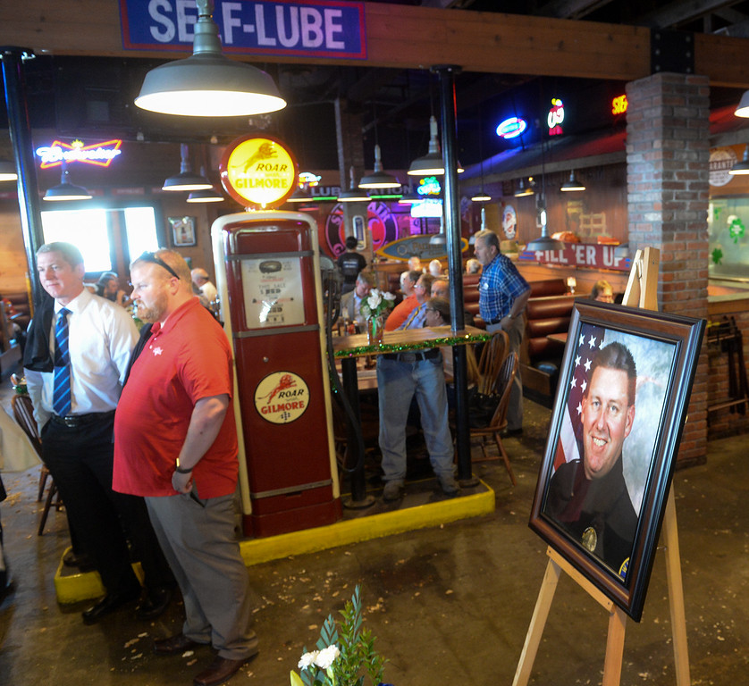 . Patrons wait as the owners of the Original Roadhouse Grill are donating 100 percent of the restaurant\'s profits to the family of slain Whittier Police Officer Keith Boyer on Thursday March 9, 2017. (Photo by Keith Durflinger/Whittier Daily News/SCNG)