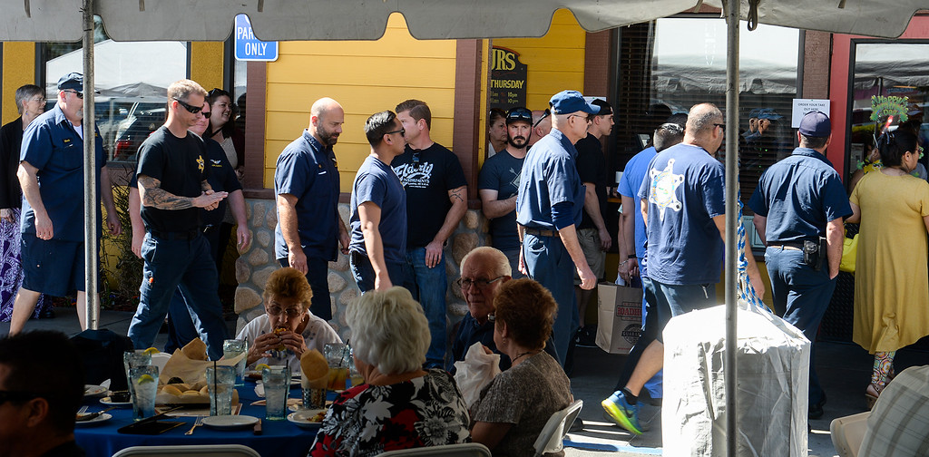 . Patrons line up as the owners of the Original Roadhouse Grill are donating 100 percent of the restaurant\'s profits to the family of slain Whittier Police Officer Keith Boyer on Thursday March 9, 2017. (Photo by Keith Durflinger/Whittier Daily News/SCNG)
