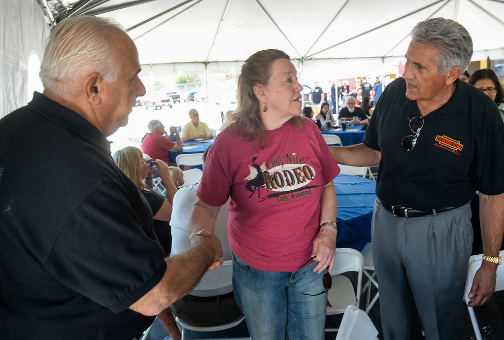 . Owners of the Original Roadhouse Grill, Larry Cimmarusti, left, and his brother, Ralph, right, talk with Nancy Clark, mother of slain Whittier Police officer Keith Boyer during their fundraiser for the family at their Whittier restaurant on Thursday March 9, 2017. 100 percent of the restaurant\'s profits for the day will be to the family of slain Whittier Police Officer Keith Boyer. (Photo by Keith Durflinger/Whittier Daily News/SCNG)