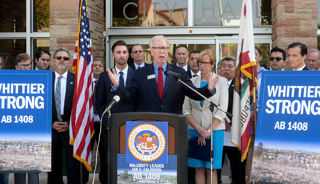 . Whittier Mayor Joe Vinatieri speaks during a press conference in front of Whittier City Hall to talk about support for Assembly Bill 1408 that is being introduced following the murder of Whittier Police Officer Keith Boyer on Thursday March 16, 2017. (Photo by Keith Durflinger/Whittier Daily News/SCNG)