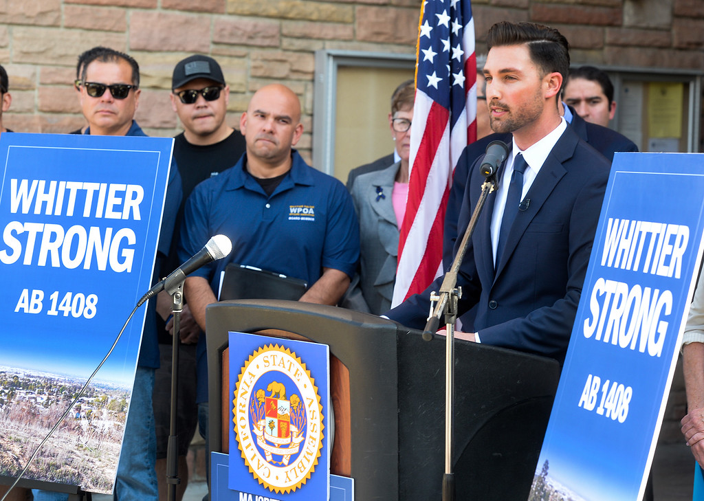 . Assemblyman Ian Calderon speaks during a press conference in front of Whittier City Hall to talk about his legislation Assembly Bill 1408 that is being introduced following the murder of Whittier Police Officer Keith Boyer on Thursday March 16, 2017. (Photo by Keith Durflinger/Whittier Daily News/SCNG)