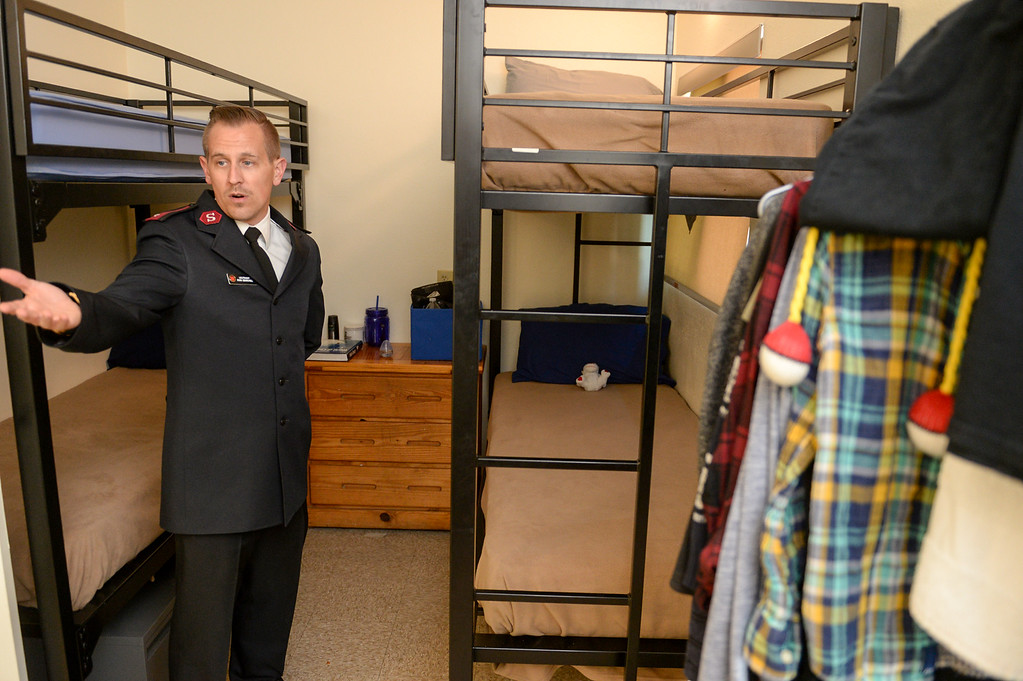 . Lt. Ryan Bearchell shows a room as the Salvation Army opens its Hospitality House, a women and children emergency shelter at 7926 Pickering Ave. in Whittier on Wednesday April 12, 2017. The shelter is opened in partnership with The Whole Child, Imagine Whittier and the Whittier Consortium. (Photo by Keith Durflinger/Whittier Daily News/SCNG)11