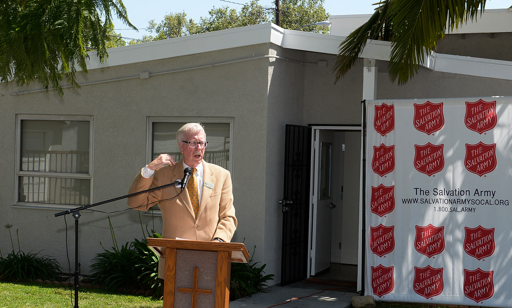 . Mayor Joe Vinatieri speaks as the Salvation Army opens its Hospitality House, a women and children emergency shelter at 7926 Pickering Ave. in Whittier on Wednesday April 12, 2017. The shelter is opened in partnership with The Whole Child, Imagine Whittier and the Whittier Consortium. (Photo by Keith Durflinger/Whittier Daily News/SCNG)