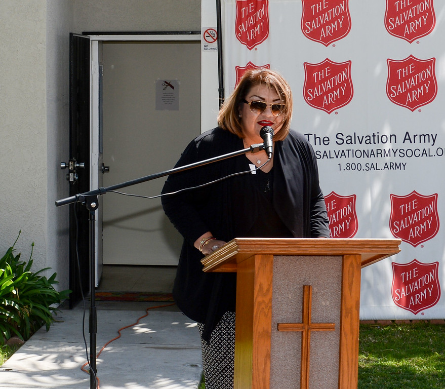 . Maria Segovia with the Whole Child  speak as the Salvation Army opens its Hospitality House, a women and children emergency shelter at 7926 Pickering Ave. in Whittier on Wednesday April 12, 2017. The shelter is opened in partnership with The Whole Child, Imagine Whittier and the Whittier Consortium. (Photo by Keith Durflinger/Whittier Daily News/SCNG)