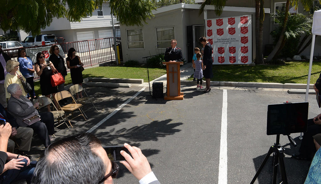 . Lt. Ryan Bearchell speaks1 as the Salvation Army opens its Hospitality House, a women and children emergency shelter at 7926 Pickering Ave. in Whittier on Wednesday April 12, 2017. The shelter is opened in partnership with The Whole Child, Imagine Whittier and the Whittier Consortium. (Photo by Keith Durflinger/Whittier Daily News/SCNG)11