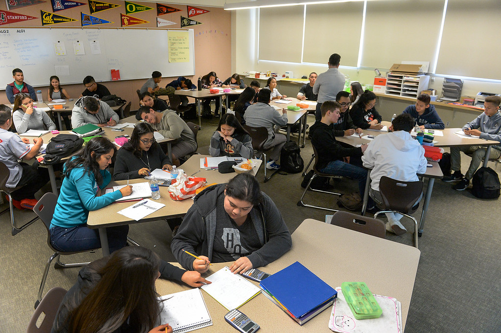 . Students are clustered in groups in their Algebra 1 class at Nogales High School in La Puente on Wednesday April 12, 2017. Rowland Unified had one of the highest increases in graduation rate in the area. (Photo by Keith Durflinger/Whittier Daily News/SCNG)